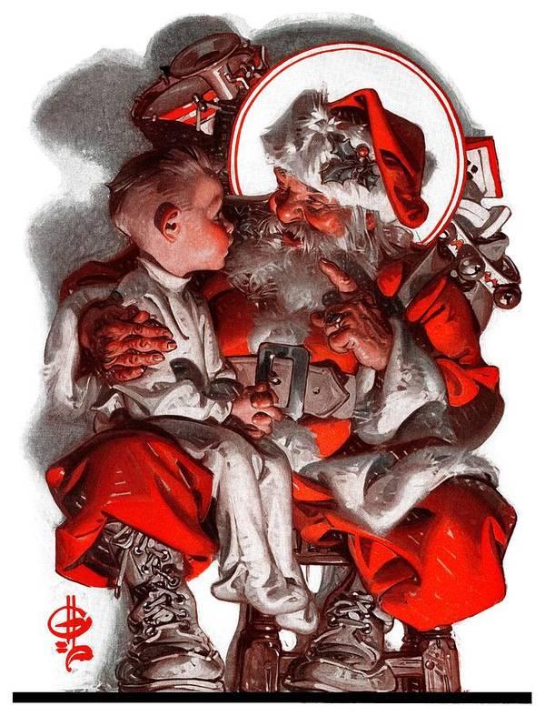 Boy Art Print featuring the drawing Santa's Lap by J.c. Leyendecker