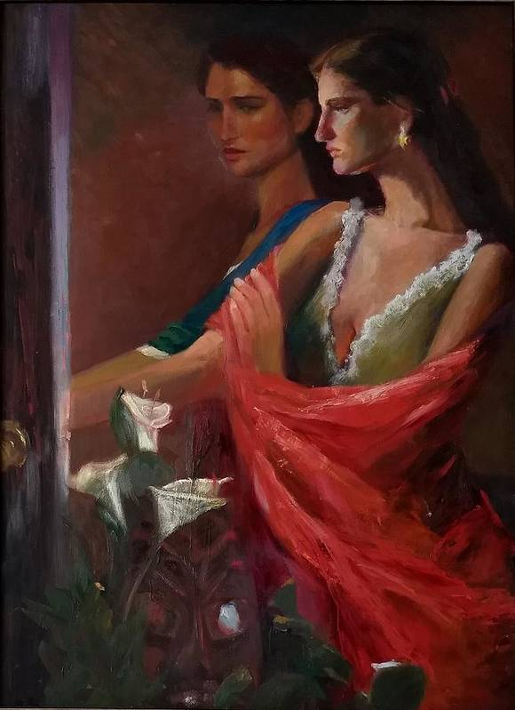 Double Portrait Art Print featuring the painting Sisters at the Door by Irena Jablonski