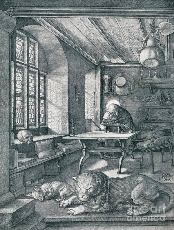Working Art Print featuring the drawing St Jerome In His Study, 1514 1906 by Print Collector