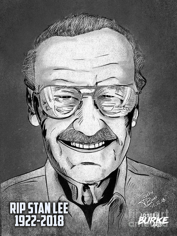 Stan Lee Art Print featuring the digital art Stan Lee by Joseph Burke