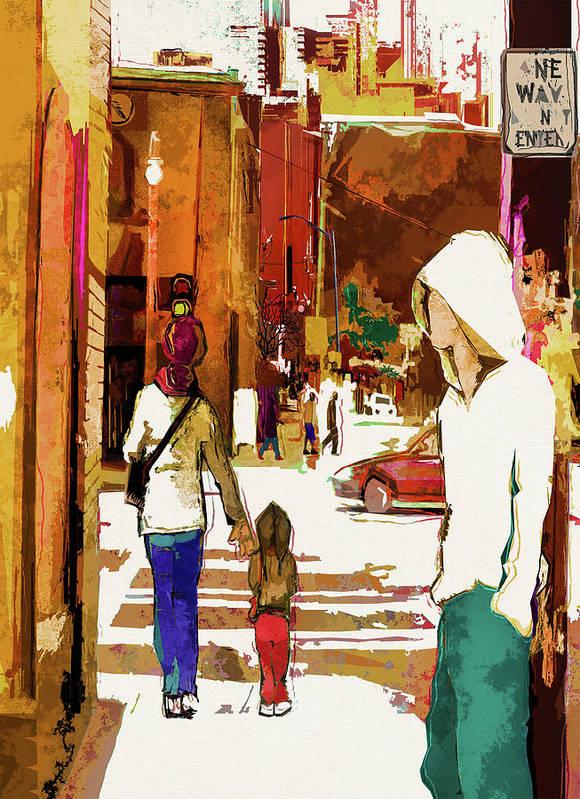 City Life Art Print featuring the digital art Street Life Innocence by Regina Wyatt
