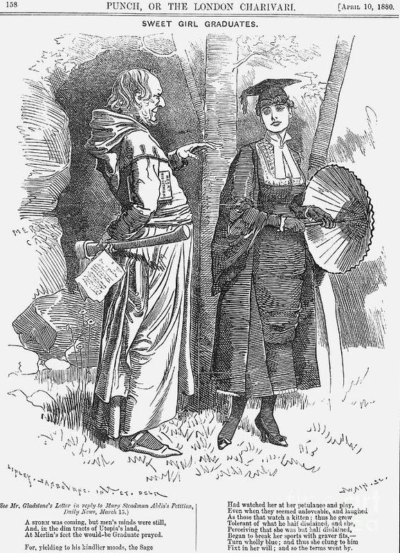 Engraving Art Print featuring the drawing Sweet Girl Graduates, 1880. Artist by Print Collector