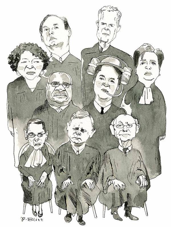 Supreme Court Art Print featuring the drawing The New Supreme Court by Barry Blitt