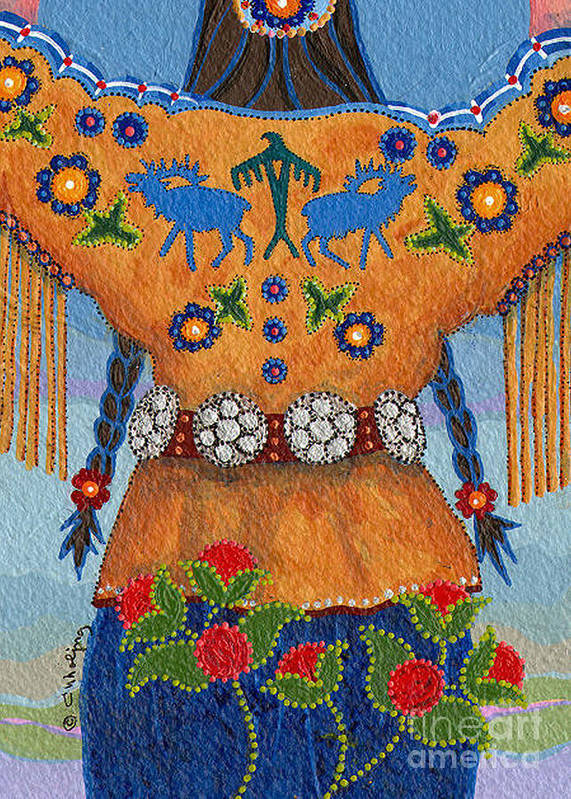 Native American Art Print featuring the painting Thunder Girl Fall by Chholing Taha