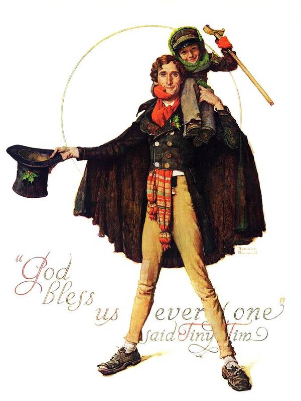 Christmas Carol Art Print featuring the drawing Tiny Tim by Norman Rockwell