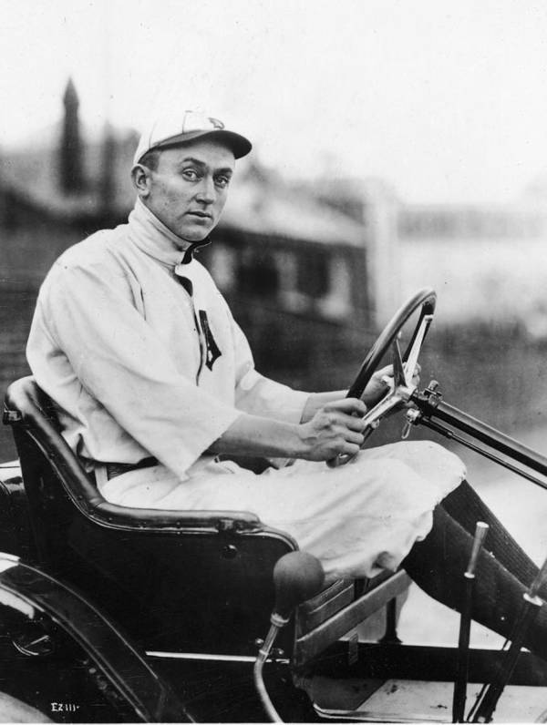 American League Baseball Art Print featuring the photograph Ty Cobb Driving Car In Uniform by Authenticated News