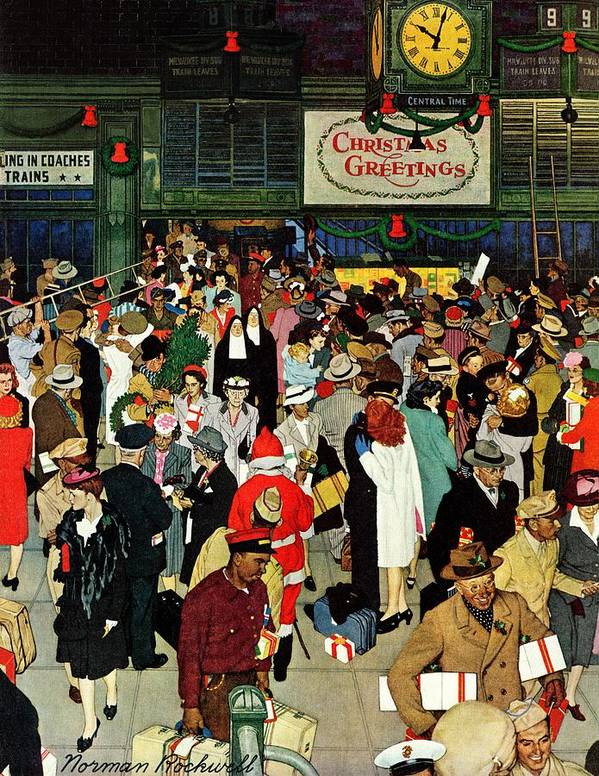 Chicago Art Print featuring the drawing union Train Station, Chicago, Christmas by Norman Rockwell