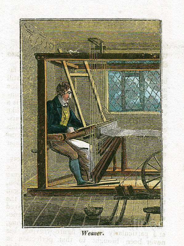 Working Art Print featuring the drawing Weaver At His Loom, 1823 by Print Collector
