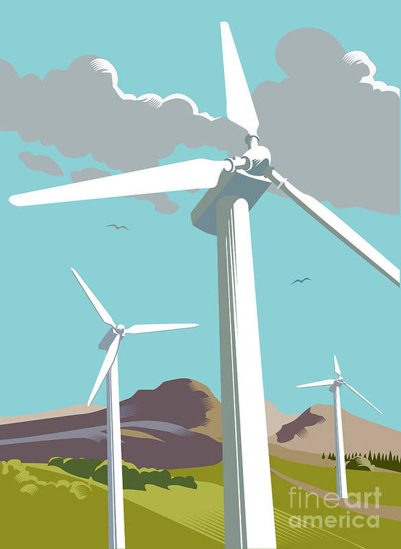 Environmental Conservation Art Print featuring the digital art Wind Turbine Farm In Countryside by Smartboy10