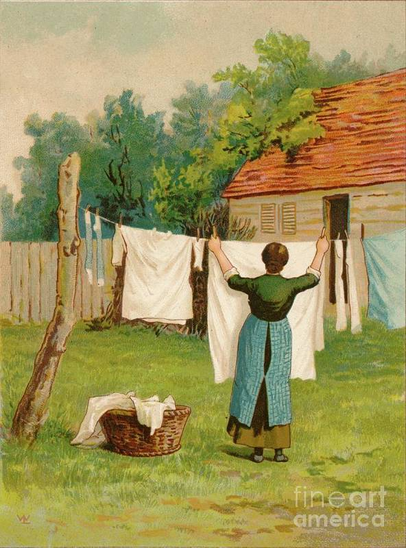 Artist Art Print featuring the drawing Woman Hanging Up Washing by Print Collector