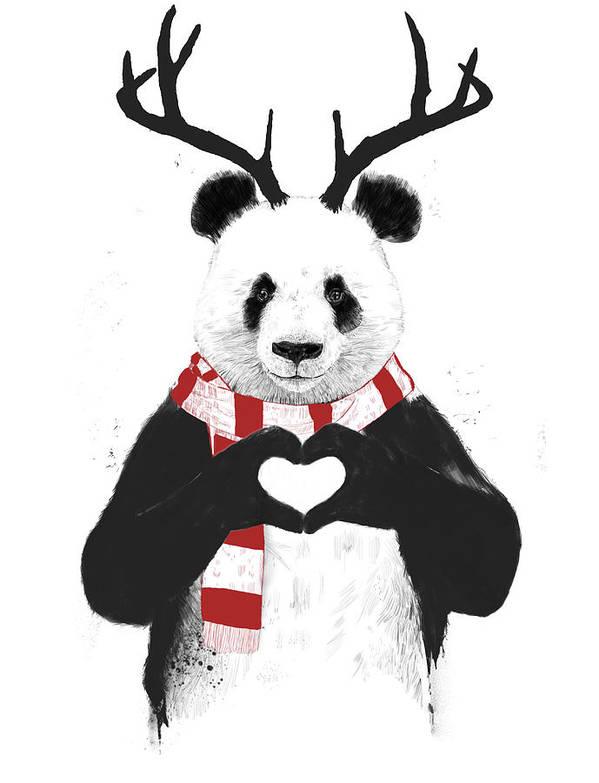 Panda Art Print featuring the drawing Xmas panda by Balazs Solti