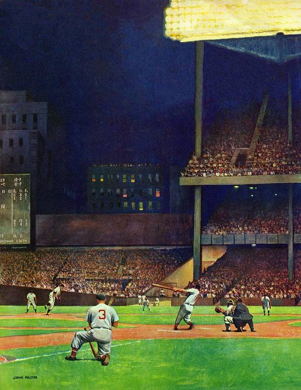 Baseball Art Print featuring the drawing Yankee Stadium by John Falter