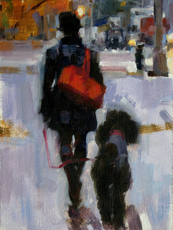 Woman Walking Dog Art Print featuring the painting Evening Walk by Merle Keller