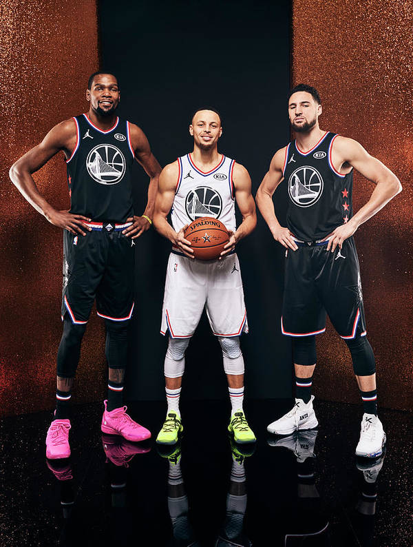 Nba Pro Basketball Art Print featuring the photograph Stephen Curry, Kevin Durant, and Klay Thompson by Jennifer Pottheiser