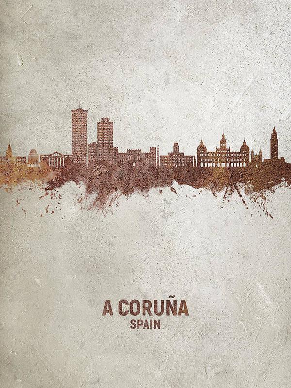 A Coruña Art Print featuring the digital art A Coruna Spain Skyline #04 by Michael Tompsett