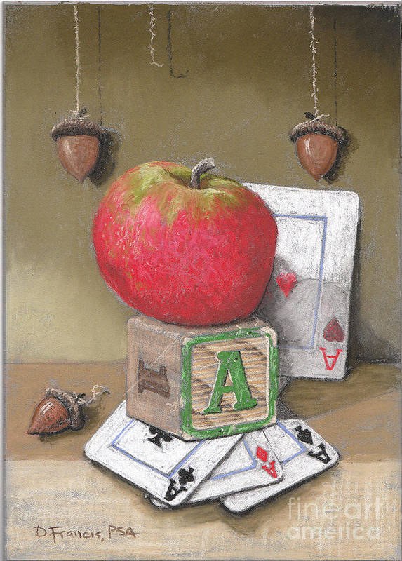 Still Life Art Print featuring the painting A is for Apple Acorns and Aces by David Francis
