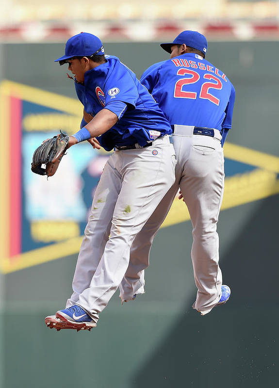 People Art Print featuring the photograph Addison Russell and Starlin Castro by Hannah Foslien
