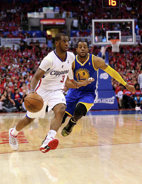 Playoffs Art Print featuring the photograph Andre Iguodala and Chris Paul by Stephen Dunn
