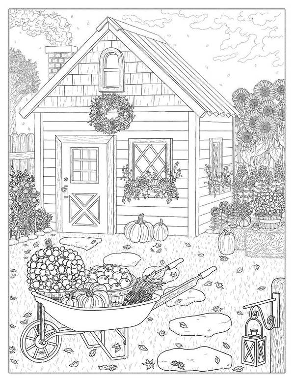 Autumn Art Print featuring the drawing Autumn Cottage Coloring Page by Dream Ripple