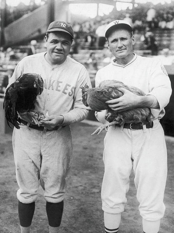 Baseball Cap Art Print featuring the photograph Babe Ruth and Walter Johnson by Fpg