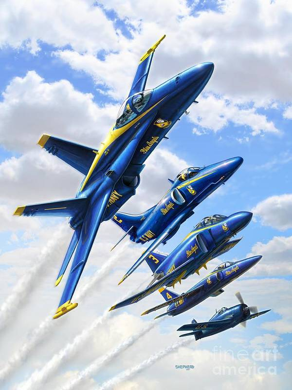 Blue Angels Art Print featuring the digital art Blue Angels Heritage by Stu Shepherd