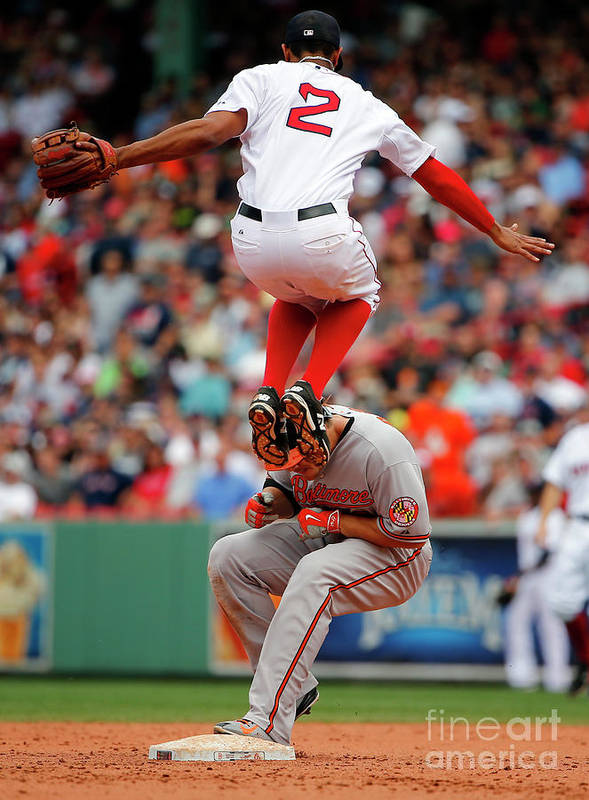 People Art Print featuring the photograph Chris Davis and Xander Bogaerts by Winslow Townson