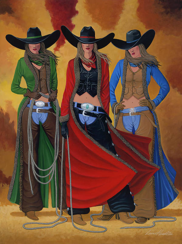 Cowgirl Art Print featuring the painting Cowgirl Up by Lance Headlee