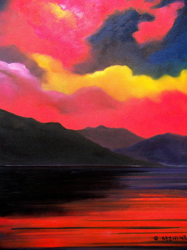 Surreal Art Print featuring the painting Crimson clouds by Sergey Bezhinets