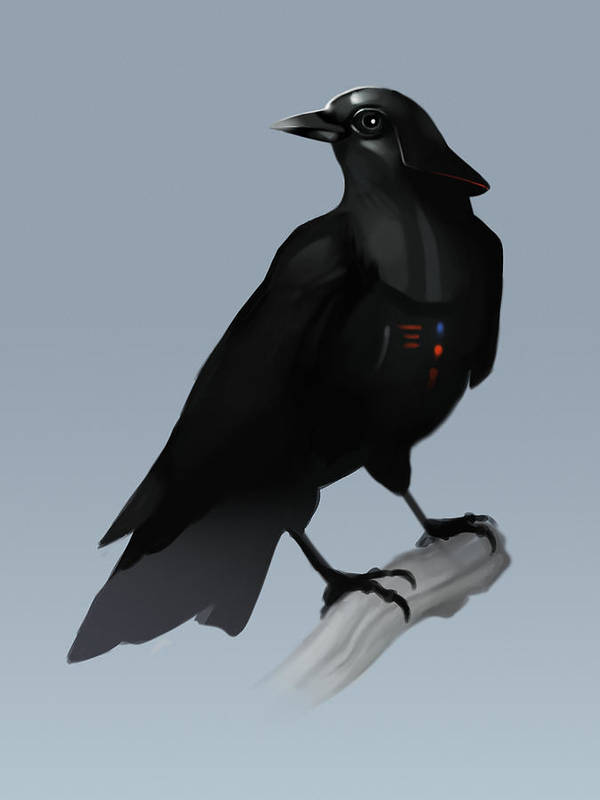 Birds Art Print featuring the digital art Crow Vader by Michael Myers