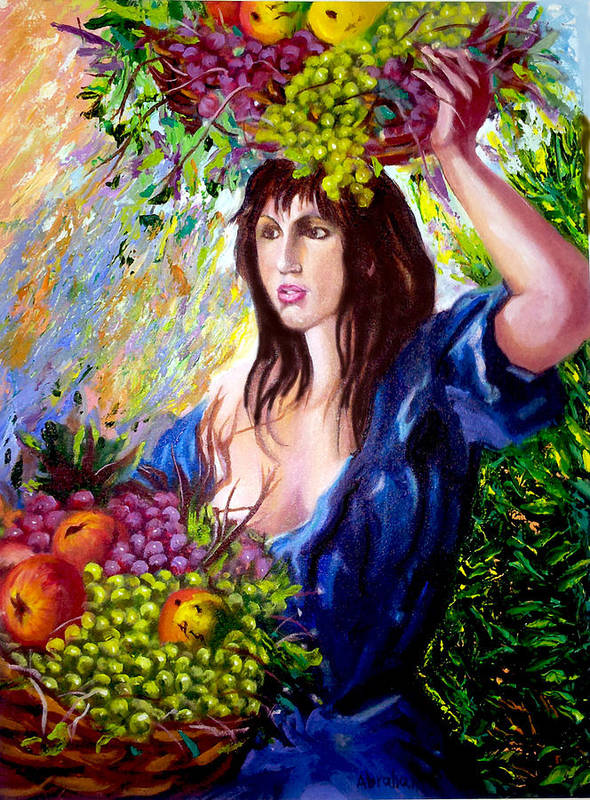 Cuban Art Art Print featuring the painting Fruit lady by Jose Manuel Abraham