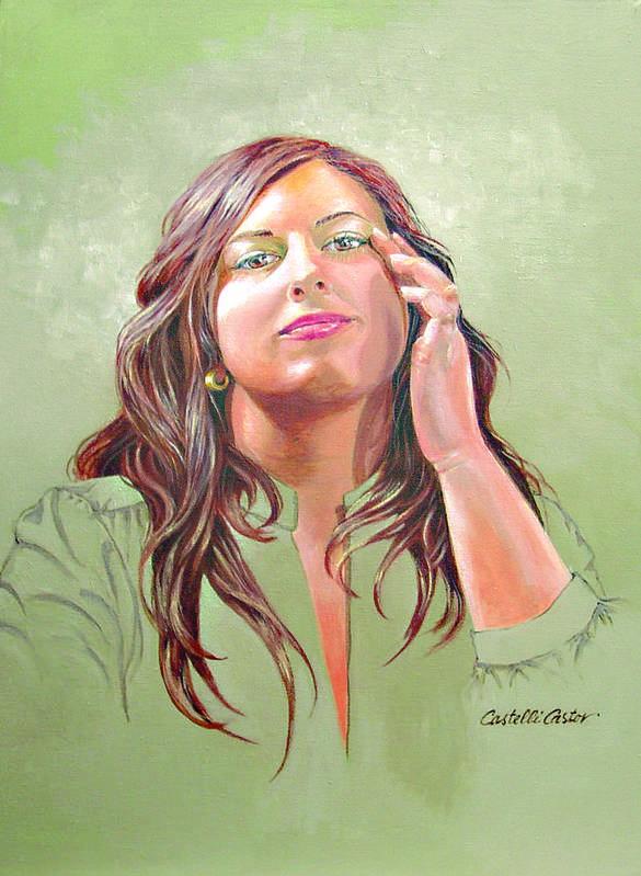 Portrait Art Print featuring the painting Gena by JoAnne Castelli Castor