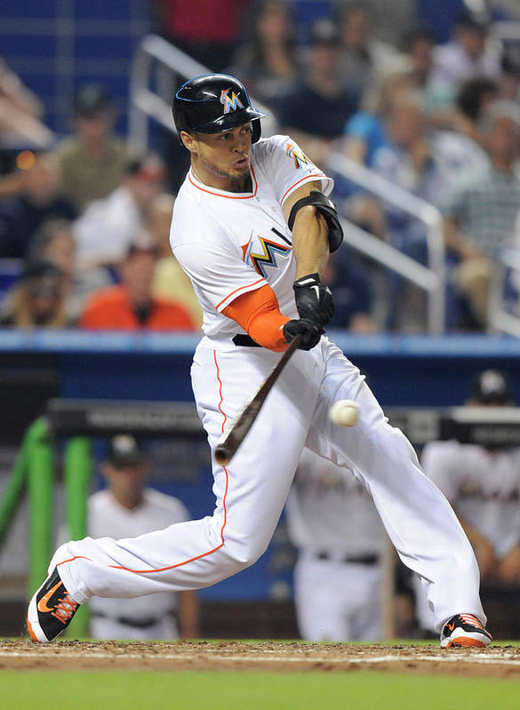 National League Baseball Art Print featuring the photograph Giancarlo Stanton by Rhona Wise