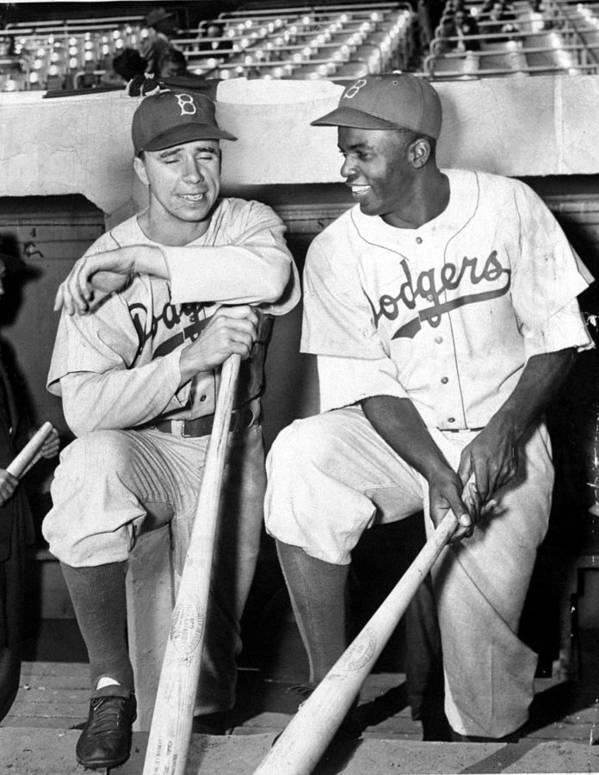 American League Baseball Art Print featuring the photograph Jackie Robinson and Pee Wee Reese by New York Daily News Archive