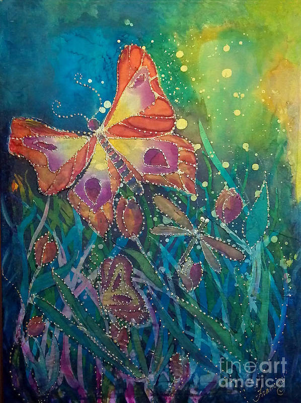 Silk Painting Art Print featuring the painting Jeweled Butterfly Fantasy by Francine Dufour Jones