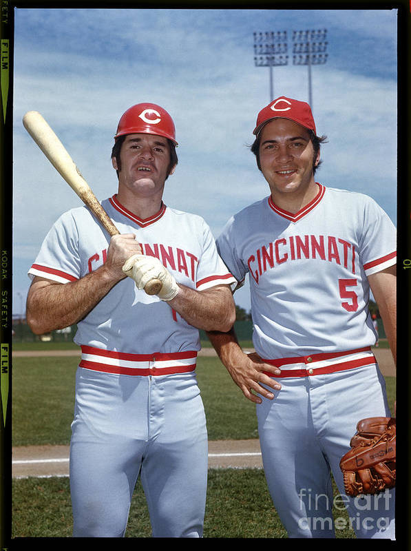 National League Baseball Art Print featuring the photograph Johnny Bench and Pete Rose by Louis Requena