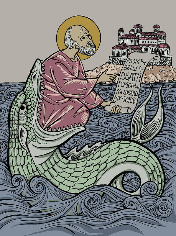 Jonah Art Print featuring the drawing Jonah and The Sea Monster by Jonathan Pageau