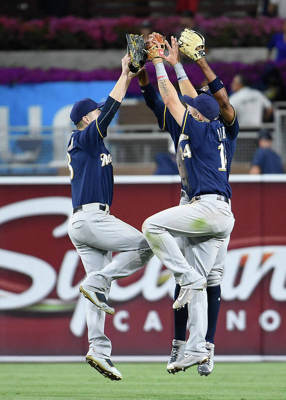 People Art Print featuring the photograph Keon Broxton and Ryan Braun by Denis Poroy