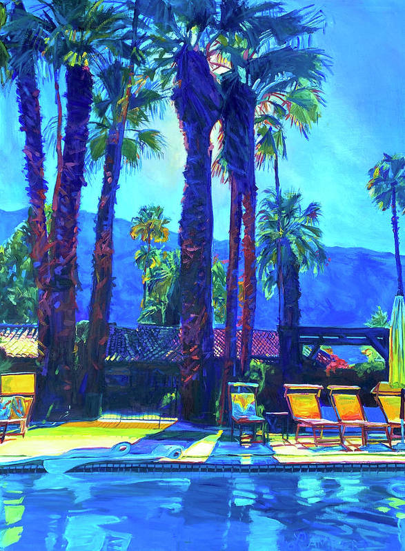 Mountains Art Print featuring the painting Lazy Day by the Pool by Bonnie Lambert