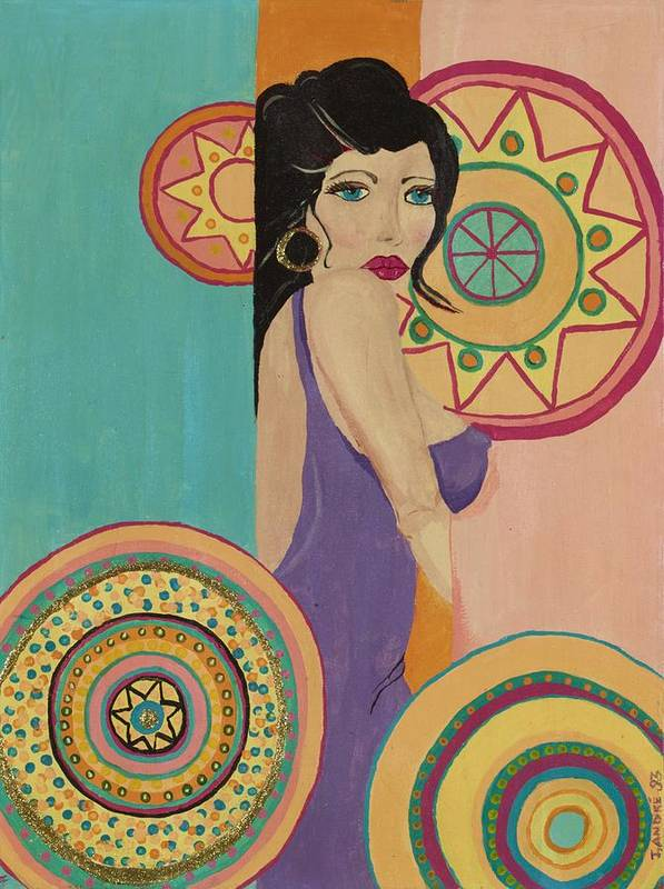 Female Art Print featuring the painting Mexican Nights by J Andrel