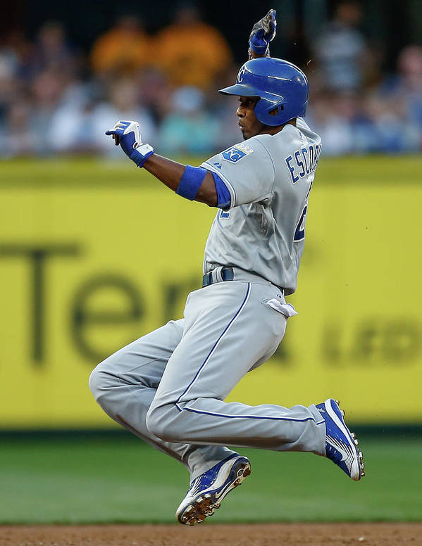 People Art Print featuring the photograph Mike Moustakas and Alcides Escobar by Otto Greule Jr