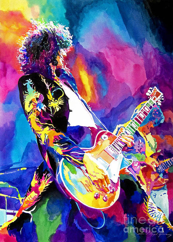 Jimmy Page Artwork Art Print featuring the painting Monolithic Riff - Jimmy Page by David Lloyd Glover