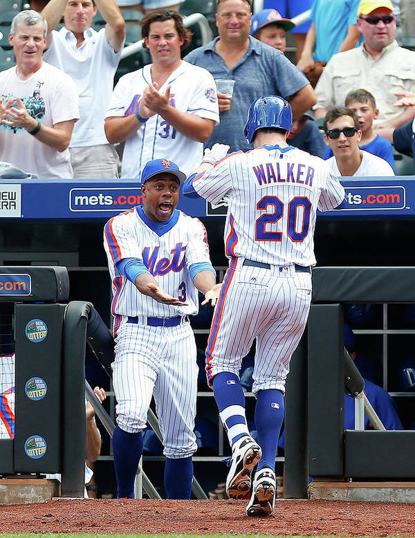 American League Baseball Art Print featuring the photograph Neil Walker And Curtis Granderson by Jim Mcisaac