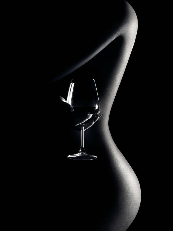 Woman Art Print featuring the photograph Nude woman red wine 3 by Johan Swanepoel