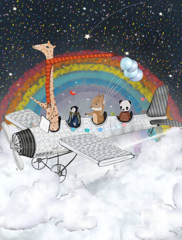 Childrens Art Print featuring the painting Over The Rainbow by Bri Buckley