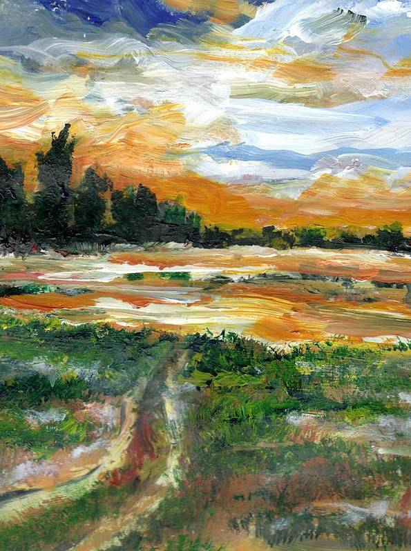 Texas Art Print featuring the painting Ponderosa Marsh Deep Winter by Randy Sprout