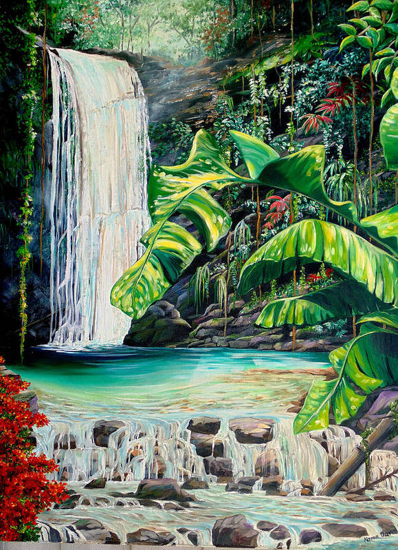 Water Fall Painting Landscape Painting Rain Forest Painting River Painting Caribbean Painting Original Oil Painting Paria Northern Mountains Of Trinidad Painting Tropical Painting Art Print featuring the painting Rainforest Falls Trinidad.. by Karin Dawn Kelshall- Best