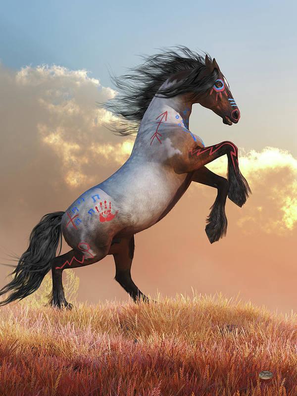 Roan War Horse Art Print featuring the digital art Rearing War Horse by Daniel Eskridge