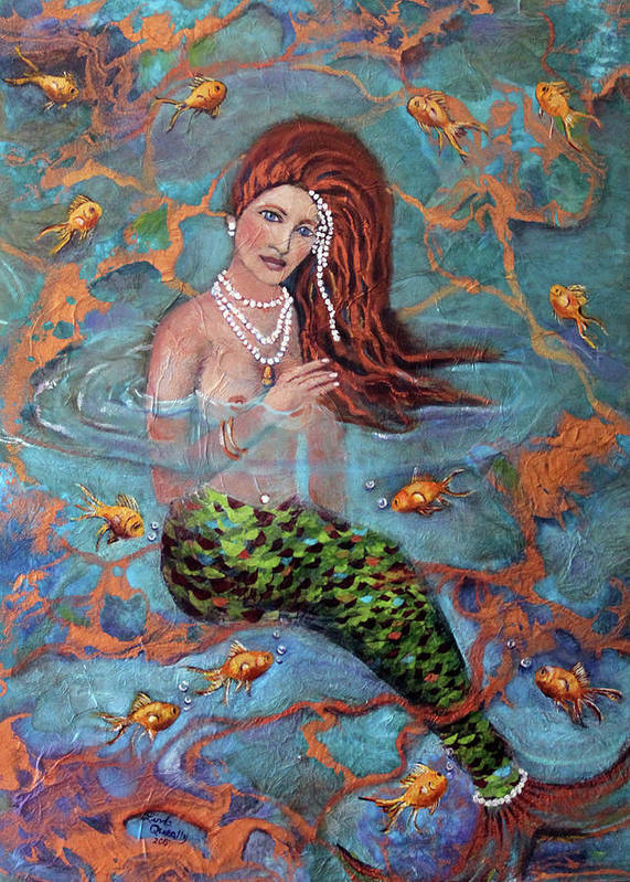 Blue Art Print featuring the painting Red Headed Mermaid Ophelia Painting by Linda Queally by Linda Queally