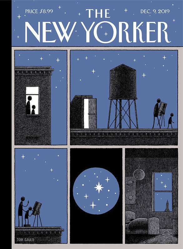 Rooftop Astronomy Art Print featuring the drawing Rooftop Astronomy by Tom Gauld