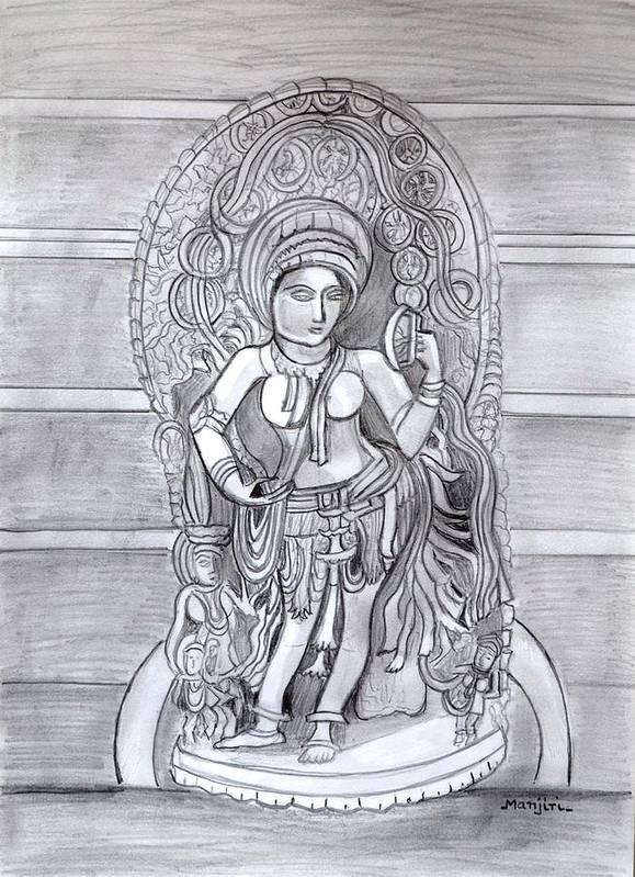 Sculpture Art Print featuring the drawing Sculpture pencil drawing of Madanika Chennakesava temple Karnataka by Manjiri Kanvinde